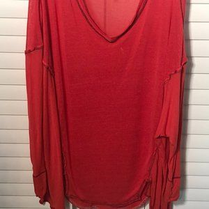 Free People oversized v-neck red sweater top, S-XL